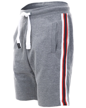 Threadbare Grey Ross Fleece Side Tape Shorts  - Click to view a larger image