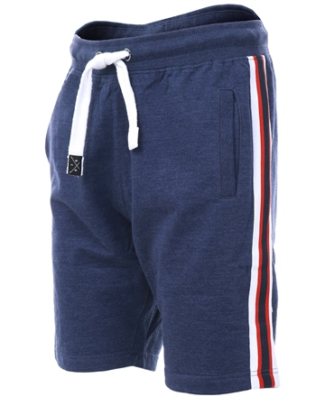 Threadbare Navy Ross Fleece Side Tape Shorts  - Click to view a larger image