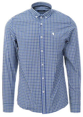Alex & Turner Blue Check Button Up Shirt  - Click to view a larger image