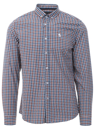 Alex & Turner Rust Check Button Up Shirt  - Click to view a larger image
