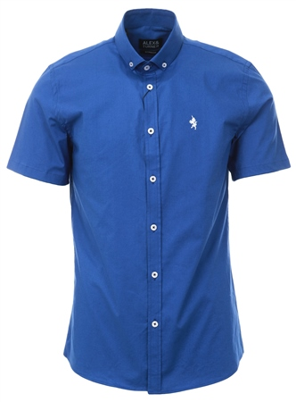 Alex & Turner Blue Short Sleeve Button Shirt  - Click to view a larger image