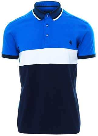 Alex & Turner Blue Colour Block Polo Shirt  - Click to view a larger image