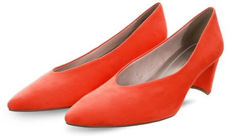 Marco Tozz Papaya / Orange Low Heel Court Shoe  - Click to view a larger image