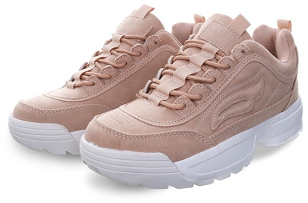 Dv8 Nude Textured Chunky Lace Up Trainer  - Click to view a larger image