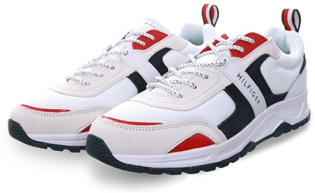 Tommy Jeans Rwb Contrast Texture Low-Top Trainers  - Click to view a larger image