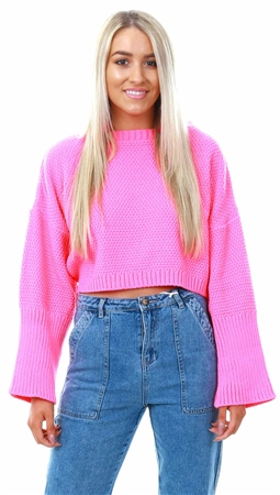 Qed Pink Neon Knit Crop Jumper  - Click to view a larger image
