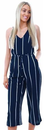 1192eaafaeb Ax Paris Navy Stripe Culotte Jumpsuit - Click to view a larger image