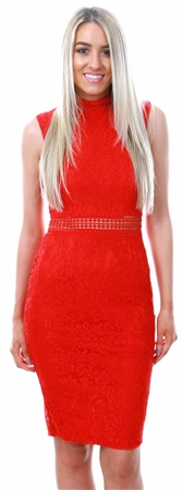 Ax Paris Red Lace High Neck Midi Dress  - Click to view a larger image