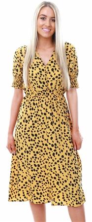 Influence Mustard Dalmatian Print Midi Dress  - Click to view a larger image