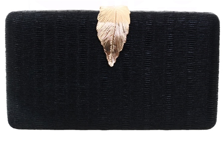 Koko Black Textured Leaf Bag  - Click to view a larger image