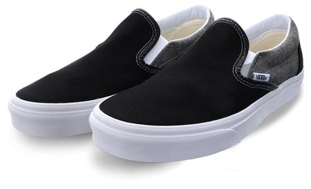 Vans Black/White Chambray Slip-On Shoes