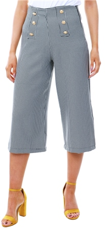 Missi Lond Grey Check Button Culotte Trousers  - Click to view a larger image