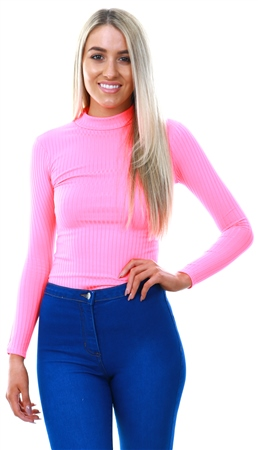 Parisian Neon Pink Rib Long Sleeve Bodysuit  - Click to view a larger image