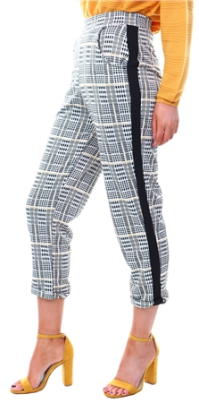 Missi Lond Yellow Check Side Tape Trouser  - Click to view a larger image
