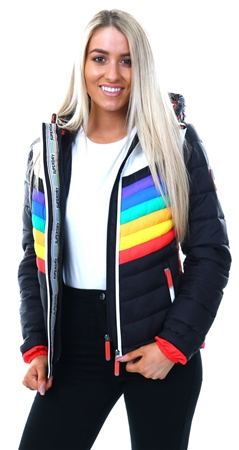 Superdry Black Rainbow Chrome Hooded Fuji Jacket  - Click to view a larger image