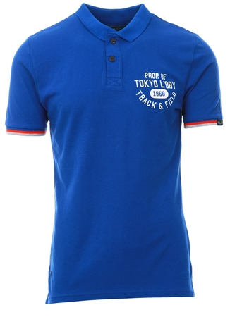 Tokyo Laundry Blue Kaikoura Cotton Polo Shirt  - Click to view a larger image