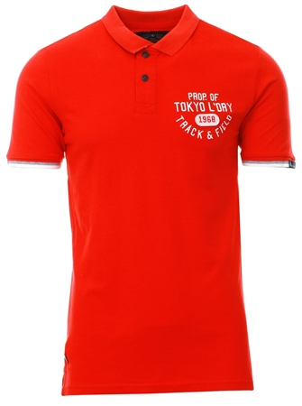 Tokyo Laundry Red Kaikoura Cotton Polo Shirt  - Click to view a larger image