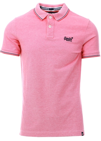 Superdry Coral Classic Poolside Pique Polo Shirt  - Click to view a larger image