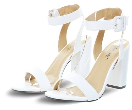 Krush White Pu Block Heel Barely There Shoe  - Click to view a larger image