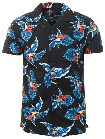 Broken Standard Navy Oceanside Floral Pattern Shirt  - Click to view a larger image