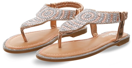 Dv8 Rose Gold Embellished Stud Sandal  - Click to view a larger image