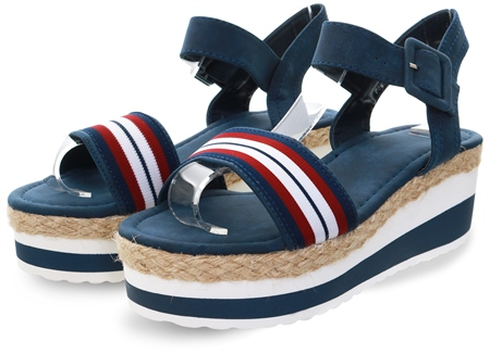 Escape Navy Stripe Pomena Platform Sandal  - Click to view a larger image