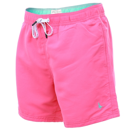 Jack Wills Bright Pink Blakeshall Mid-Length Swim Short  - Click to view a larger image