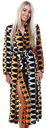 Ax Paris Orange Aztec Printed Shirt Dress  - Click to view a larger image