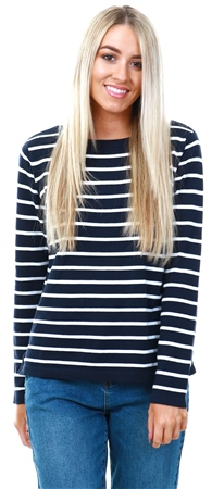 Vila Navy / White Stripe Knitted Top  - Click to view a larger image