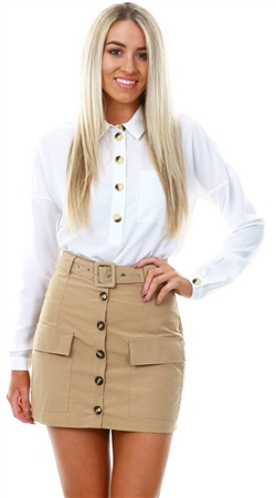 Noisy May Cream Lana Button Up Shirt  - Click to view a larger image