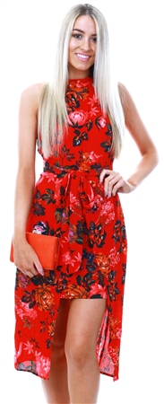 Ax Paris Red Floral Wrap Skirt Midi Dress  - Click to view a larger image