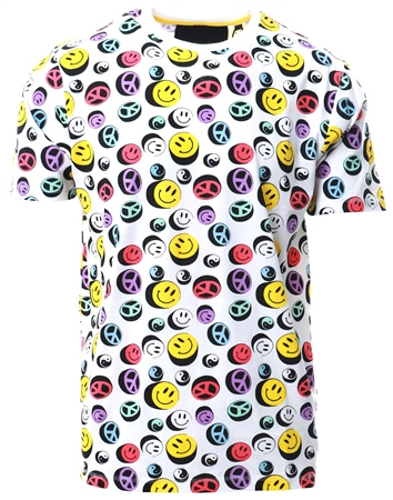 Soulstar White Smiley Face Graphic Print T-Shirt  - Click to view a larger image