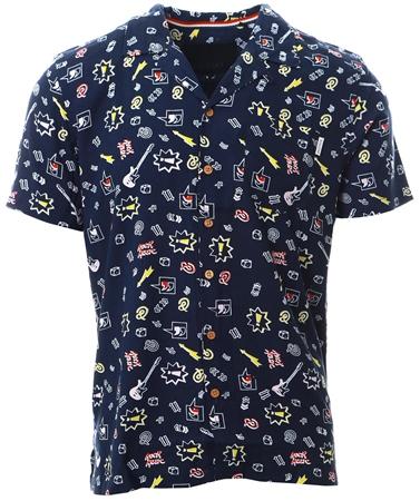 Soulstar Navy Short Sleeve Printed Shirt  - Click to view a larger image