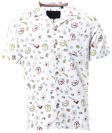 Soulstar White Short Sleeve Printed Shirt  - Click to view a larger image