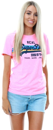 f1fbf67f Superdry Pink Vintage Logo Retro Rainbow T-Shirt - Click to view a larger  image