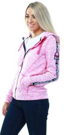 Superdry Pink Marl Storm Tape Zip Hood  - Click to view a larger image