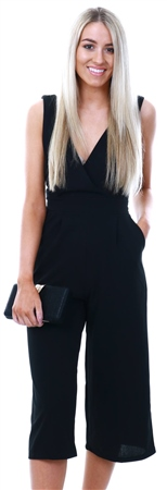 Wal/G Black Deep V Culottes Jumpsuit  - Click to view a larger image