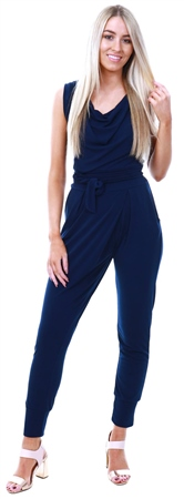 Wal/G Navy Crepe Cuffed Jumpsuit  - Click to view a larger image