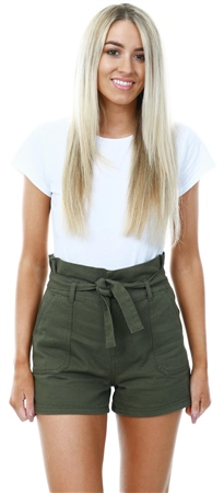 Urban Bliss Khaki Utility Paperbag Waist Short  - Click to view a larger image