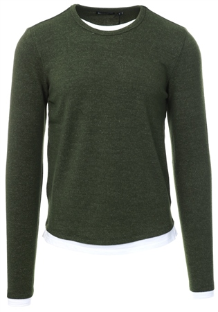 Brave Soul Khaki Long Sleeve Crew Neck Jumper  - Click to view a larger image