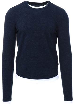 Brave Soul Navy Long Sleeve Crew Neck Jumper  - Click to view a larger image