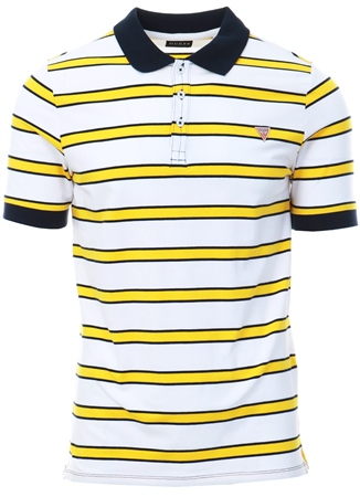 Guess White/Gold Stripe Short Sleeve Polo  - Click to view a larger image