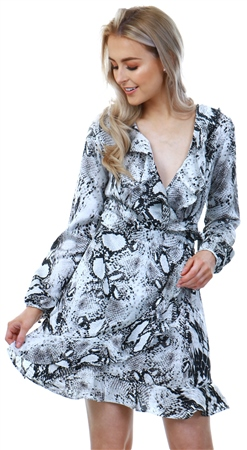 Missi Lond Snake Print Fill Wrap Dress  - Click to view a larger image