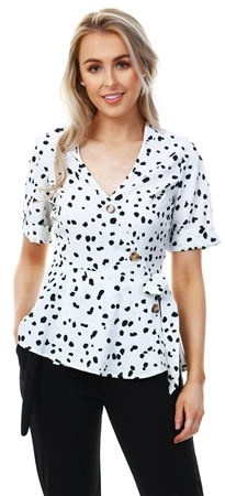 Influence White Black Pattern Button Print Top  - Click to view a larger image