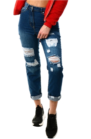 Parisian Mid Blue Ripped Boyfriend Jean  - Click to view a larger image