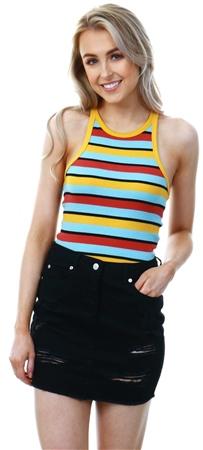 Brave Soul Multi Silvia Rib Stripe Vest Top  - Click to view a larger image