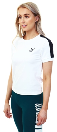 Puma White/Black Classics Tight T7 Women's Tee  - Click to view a larger image