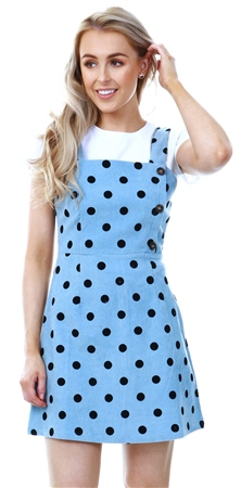Miss Truth Pale Blue Spot Dress  - Click to view a larger image