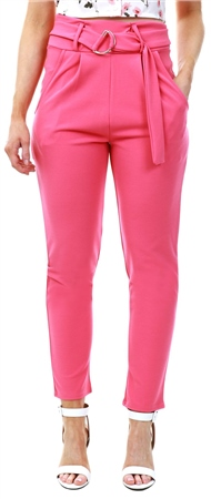 Parisian Pink High Waist Belted Trouser  - Click to view a larger image