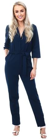 Jdy Navy Cammy Belted Jumpsuit  - Click to view a larger image